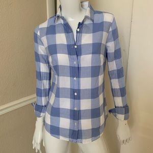 J. Crew Women's Periwinkle Blue Plaid Shirt Sz 0